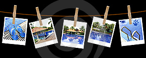 Vacation Pool Photography On Clothespins Stock Photography - Image: 19462302
