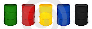 Five Colored Barrels 3D Render Royalty Free Stock Images - Image: 19465599