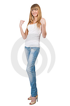 Happy Excited Girl Celebrating Victory Stock Images - Image: 19467154