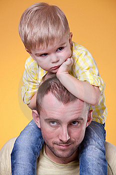 Young Father With Little Son On His Shoulders Royalty Free Stock Photos - Image: 19468278