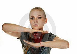 The Blonde With An Apple Royalty Free Stock Image - Image: 19468546