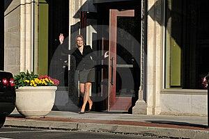 Business Woman Waving Hello Royalty Free Stock Image - Image: 19471286