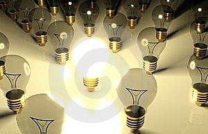 One Glowing Light Bulb And The Other Light Bulbs Stock Photography - Image: 19472662