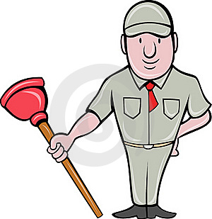 Plumber With Plunger Standing Stock Photography - Image: 19472672