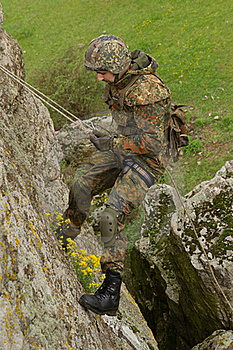 Soldier Rappeling Royalty Free Stock Photos - Image: 19472908