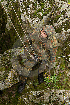 Soldier On The Rope Royalty Free Stock Images - Image: 19472939