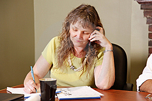 Older Employee On Phone Royalty Free Stock Images - Image: 19482749