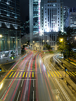 Traffic In Modern City At Night Stock Photo - Image: 19484790