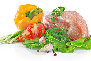 Piece Of Fresh Raw Meat With Vegetables Stock Photos - Image: 19485663