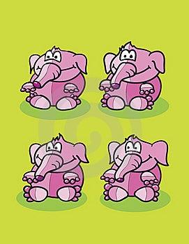 Pink Elephants Set Royalty Free Stock Image - Image: 19488226