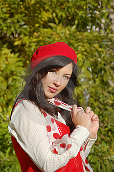 Nice Girl In Red Beret Royalty Free Stock Photo - Image: 19489625