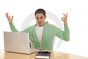 Man Green Study Hands Up Royalty Free Stock Photo - Image: 19490935