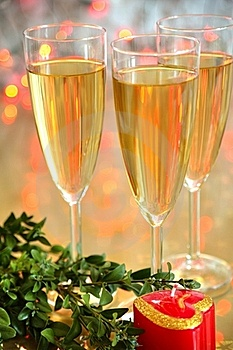 Champagne In Glasses And Green Twig Stock Images - Image: 19495794