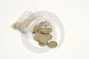 Twenty Pounds From Coin Bag Stock Photo - Image: 1955490
