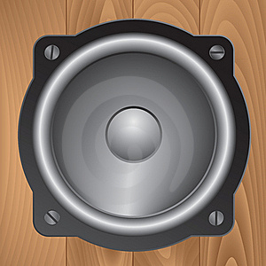 Audio Speaker On Wooden Background Royalty Free Stock Image - Image: 19502596