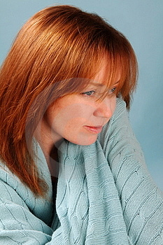 Red Head With Blue Blanket Stock Photo - Image: 19503380