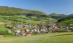 Farmland, Small Town And Forested Hills. Royalty Free Stock Photo - Image: 19506795