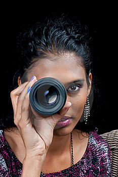 Beautiful East Indian Woman With Camera Lens Royalty Free Stock Image - Image: 19517276