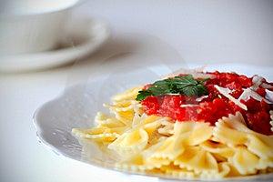 Pasta Farfalle With Tomato Sauce Royalty Free Stock Photos - Image: 19525718