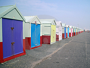 Perspective Of Beach Huts Royalty Free Stock Images - Image: 19526739