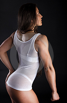 Woman Is Showing Her Triceps Royalty Free Stock Images - Image: 19528729