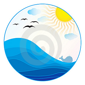 Sea Illustration - Summer Logo Royalty Free Stock Photo - Image: 19534545