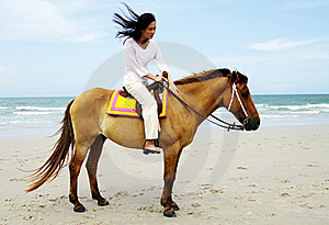 Young Woman Riding A Horse Royalty Free Stock Photography - Image: 19536317