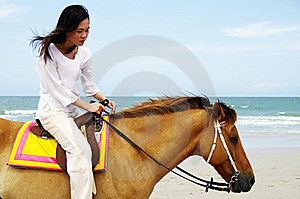 Young Woman Riding A Horse Stock Photo - Image: 19536360