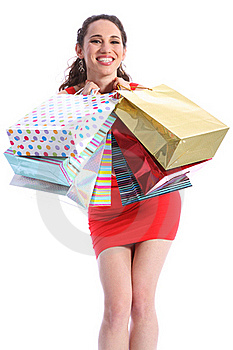Beautiful Woman Excited After Shopping Trip Royalty Free Stock Images - Image: 19536849