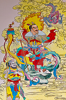 Tradition Chinese Painting On Chinese Temple Wall Stock Images - Image: 19538674