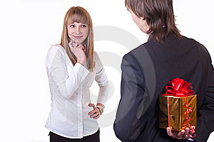 Young Happy People With Gift Royalty Free Stock Images - Image: 19539249