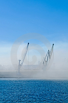 Two Cranes In The Mist Stock Photography - Image: 19542982