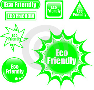Green Eco Friendly Label Web Button Royalty Free Stock Photo - Image: 19543005