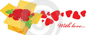 Holiday Packing With Roses Stock Image - Image: 19543071