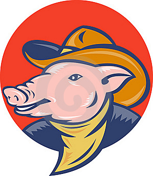 Pig Cowboy Hat And Bandanna Stock Photos - Image: 19544293