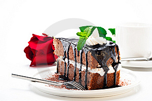 A Piece Of Chocolate Cake Royalty Free Stock Photos - Image: 19546568