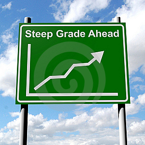 Steep Grade Sign With Rising Sales Chart Stock Photography - Image: 19550132