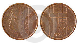 Rare Retro Coin Of Netherlands Stock Image - Image: 19552391