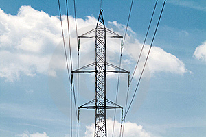 Powerlines In The Blue Sky Stock Image - Image: 19553681