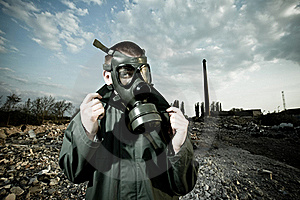 Bizarre Portrait Of Man In Gas Mask Stock Photo - Image: 19553950