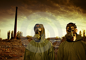 Two men in gas masks