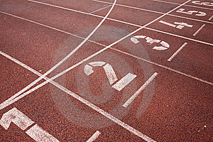 Running track starting line Royalty Free Stock Photo