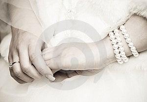 Bride's hands Royalty Free Stock Photos