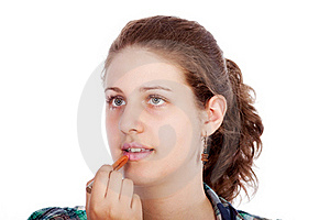 Young Woman With Lipstick Royalty Free Stock Photo - Image: 19554065