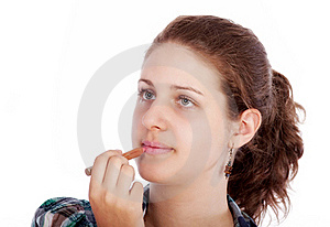 Young Woman With Lipstick Royalty Free Stock Photography - Image: 19554067