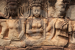 Relief Angkor Royalty Free Stock Image - Image: 19554676