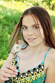 Girl Holds Dandelion Stock Images - Image: 19555224