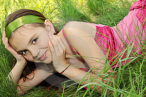 Girl In The Grass Royalty Free Stock Image - Image: 19555246