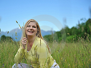Beautiful Natural Woman Outdoors In A Field Stock Photography - Image: 19555892