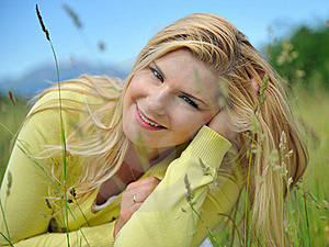 Beautiful Natural Woman Outdoors In A Field Stock Photos - Image: 19556113